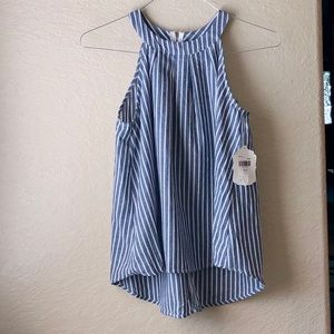 NWT Altar'd State Chambray Blue Stripe Wilda Top S